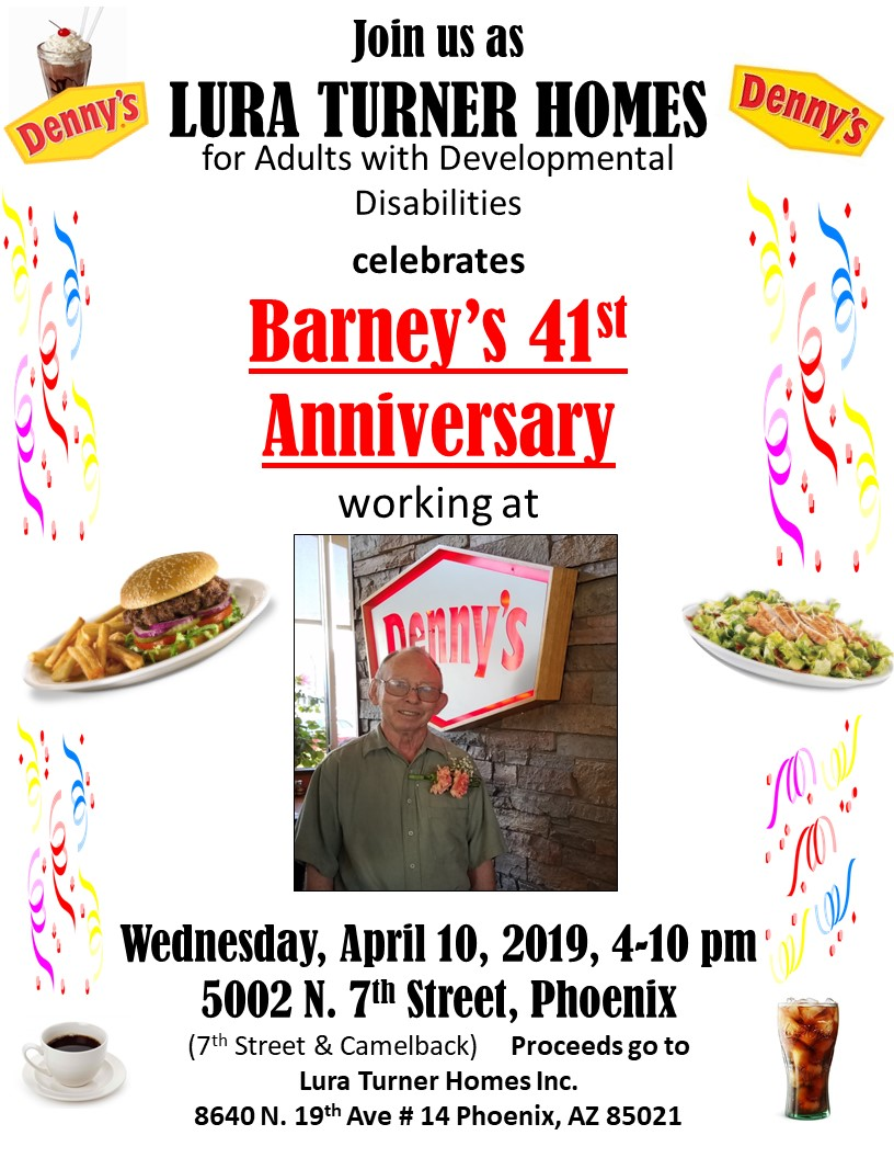 Join us Wednesday, April 10th, 4-10 pm, at Denny's at 7th St and Camelback for Barney's Night!